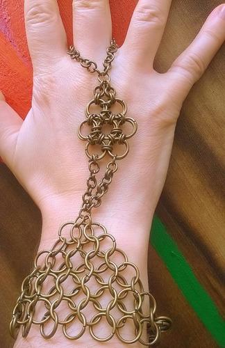 brazalete pulsera tejido medieval chain mail