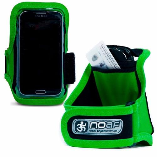 brazalete  running porta celular noaf verde fucsia negro