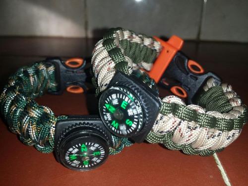 brazaletes paracord con silbato brujula