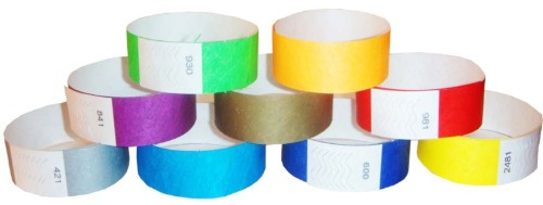 brazaletes pulseras tyvek de seguridad resistentes 500 pz