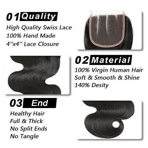 brazilian virgin hair body wave 3 paquetes con cierre (14 1