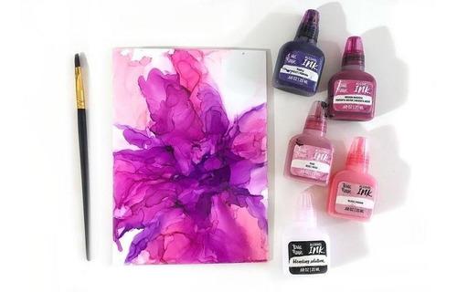 brea reese tintas al alcohol lavanda rosa cielo arte pintura