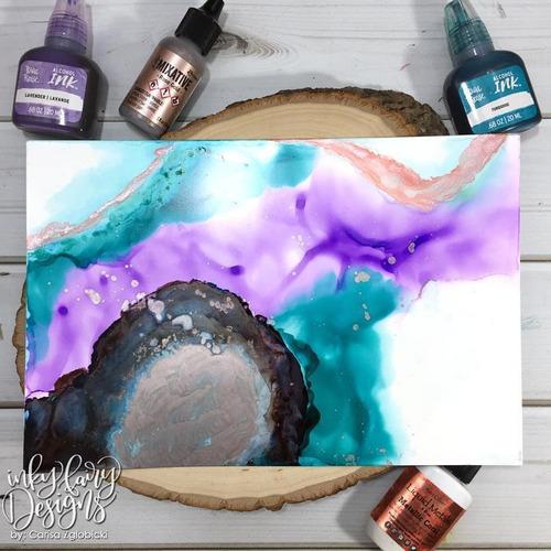 brea reese tintas al alcohol rosa naranja azul arte pintura
