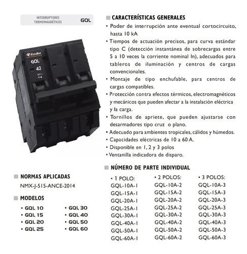 breaker breker interruptor termomagnetico 40a 3p exceline