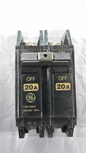 breaker interruptor 2x20 amp general electric superficial