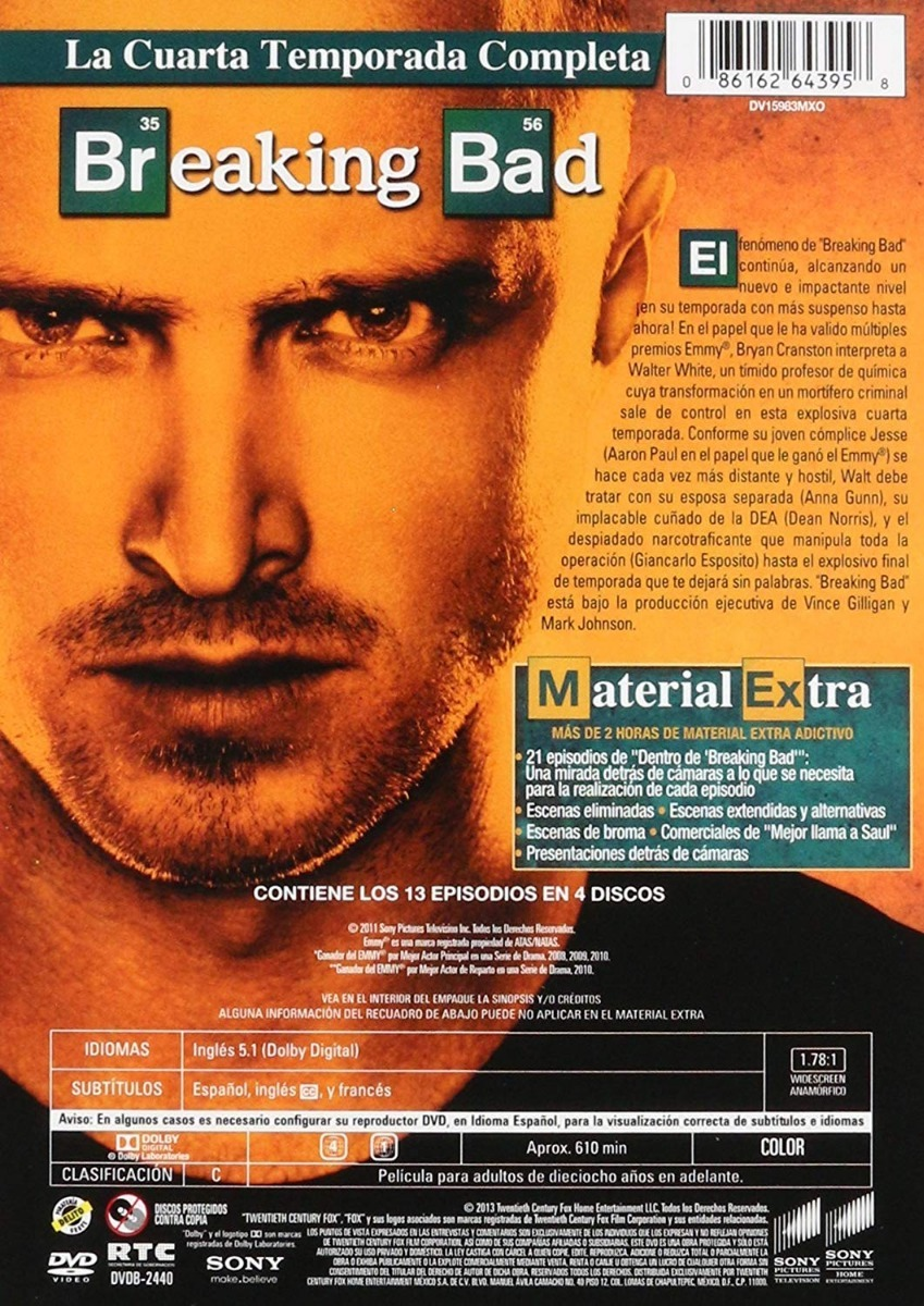 Breaking Bad Cuarta Temporada 4 Cuatro Dvd - $ 249.00 en Mercado Libre