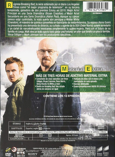 breaking bad tercera temporada 3 tres dvd