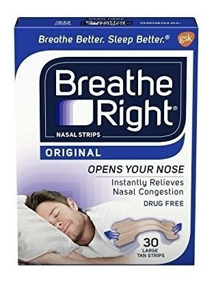 breathe right nasal strips clear pack  30 tiras nasales