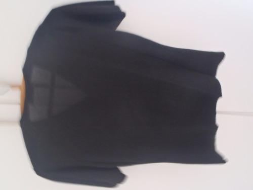 brechó blusa preta botões lantejoula malha manga curta