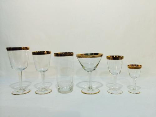 brechó charisma jogo de taças em cristal e ouro - anos 80