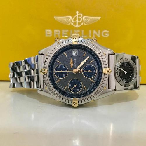 breitling chronomat utc ouro & aço 40mm impecável