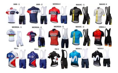 bretelle e camisa ciclismo equipes (sky, bora, mavic) gel 9d