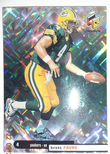 brett favre 1999 upper deck hologrfx #20 tarjeta nfl card