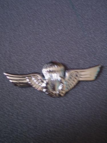 brevê de metal prateado paraquedista - pqdt