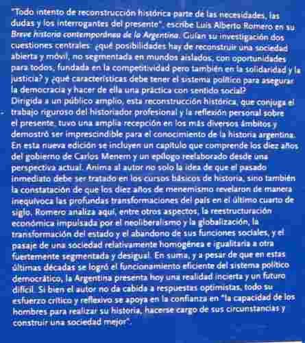 breve historia contemporánea argentina 2016, romero, fce