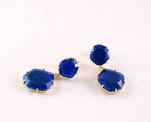 brinco 2 pedras quartzo azul - 2174532532br325qa
