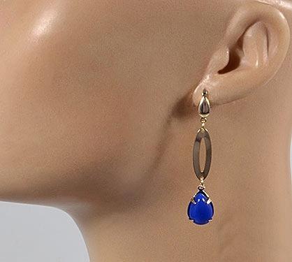 brinco antialérgico dourado c/pedra  azul 1027854