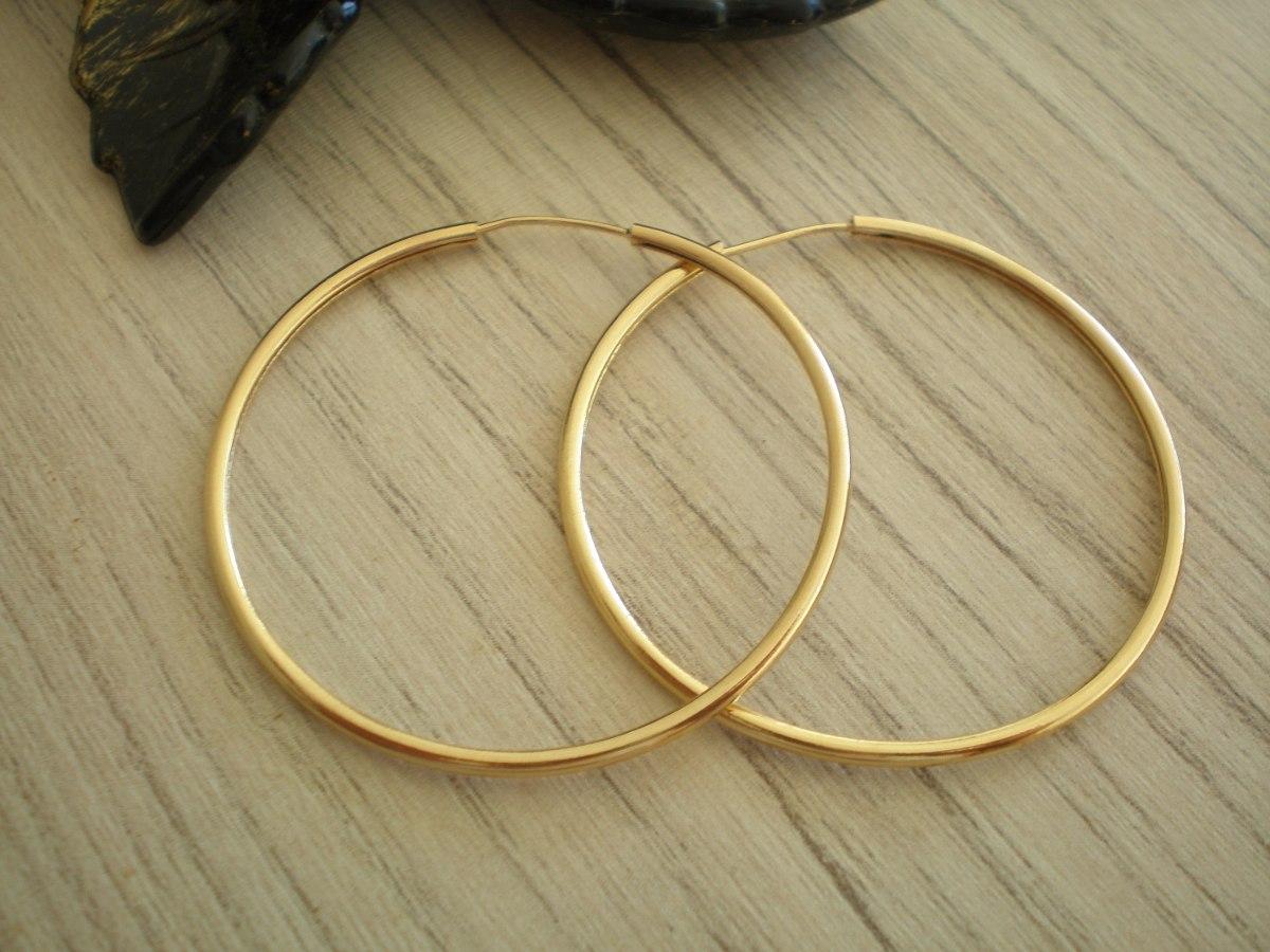 Brinco Argola 3,5 Cm Diâmetro Banhado A Ouro - R  12,90 em Mercado Livre 4de409ddae