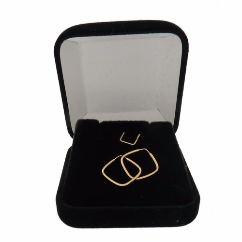 brinco argola de ouro 18k 750 quadrado + super mega brinde