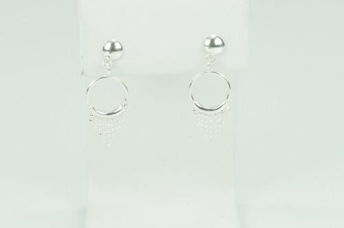 brinco argola pendurado cortina prata 925 (c8448)