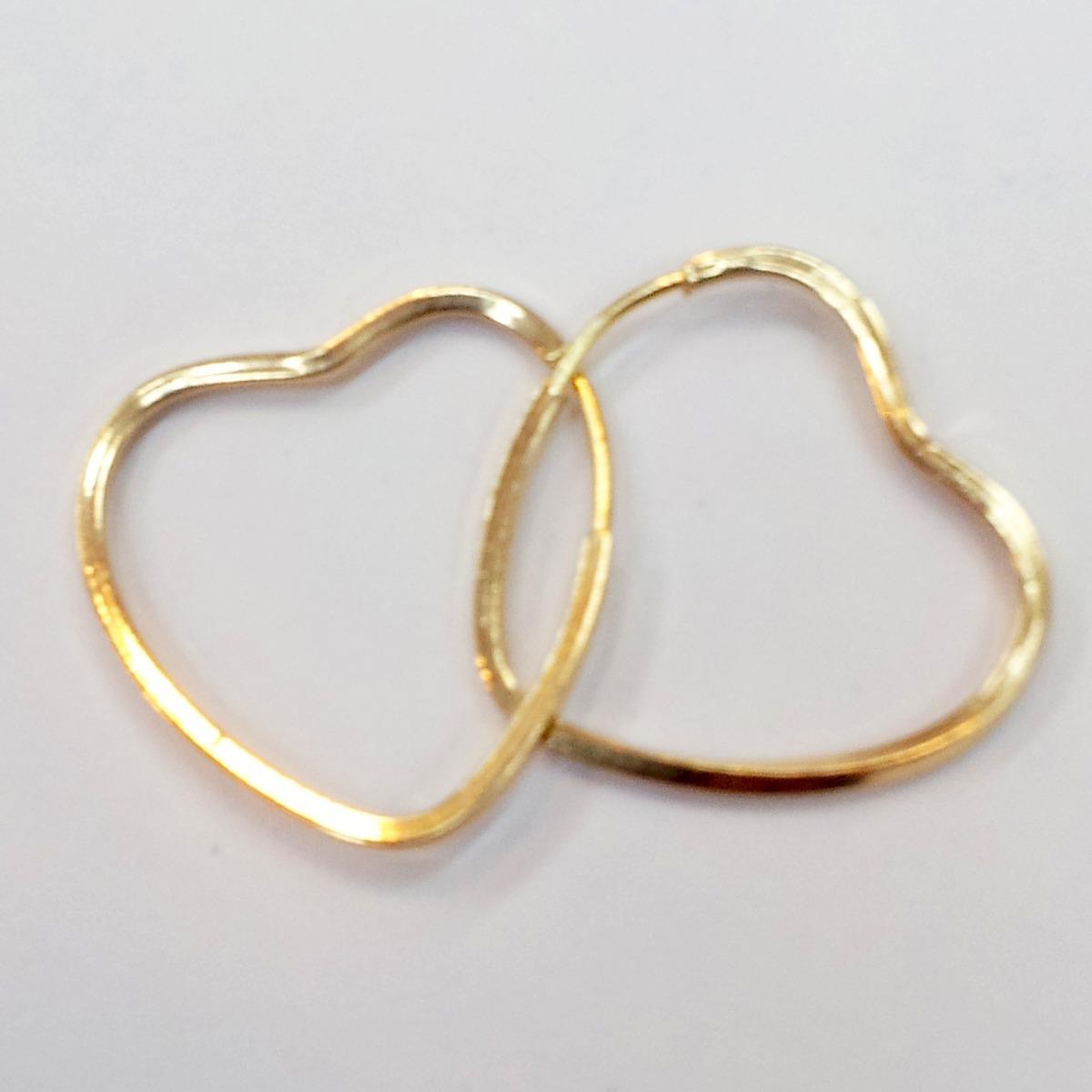 4392f12be9932 brinco argola pequena coração de ouro 18k + frete grátis. Carregando zoom.