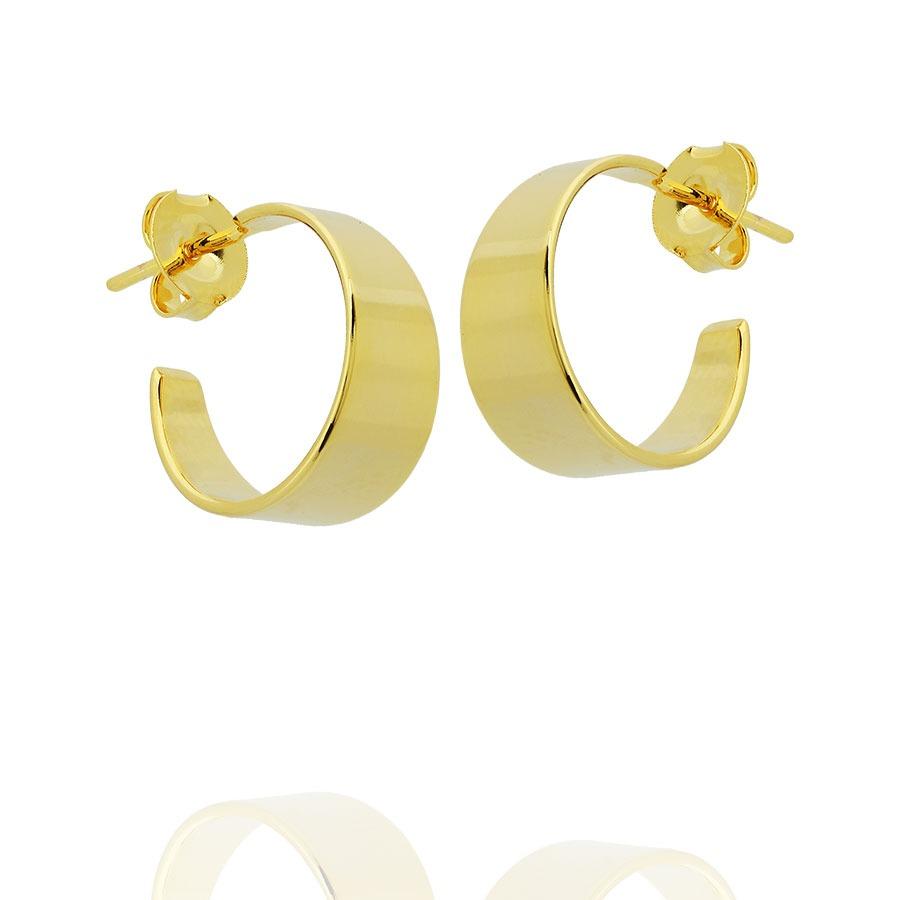 Brinco Argola Pequena Lisa Larga Tarraxa Semi Joia Dourado - R  37,90 em  Mercado Livre 02e6d2f6a8