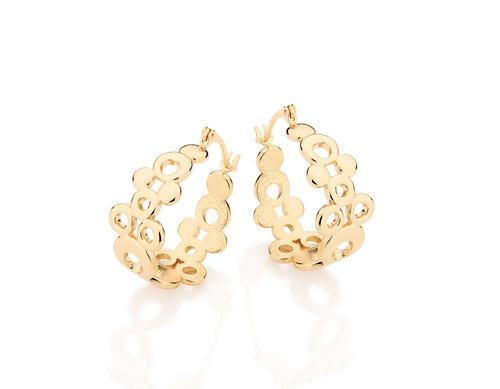 brinco argola rommanel  círculos lisos tamanhos ouro 524356