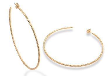 brinco argola rommanel diamantado folheado ouro 523125