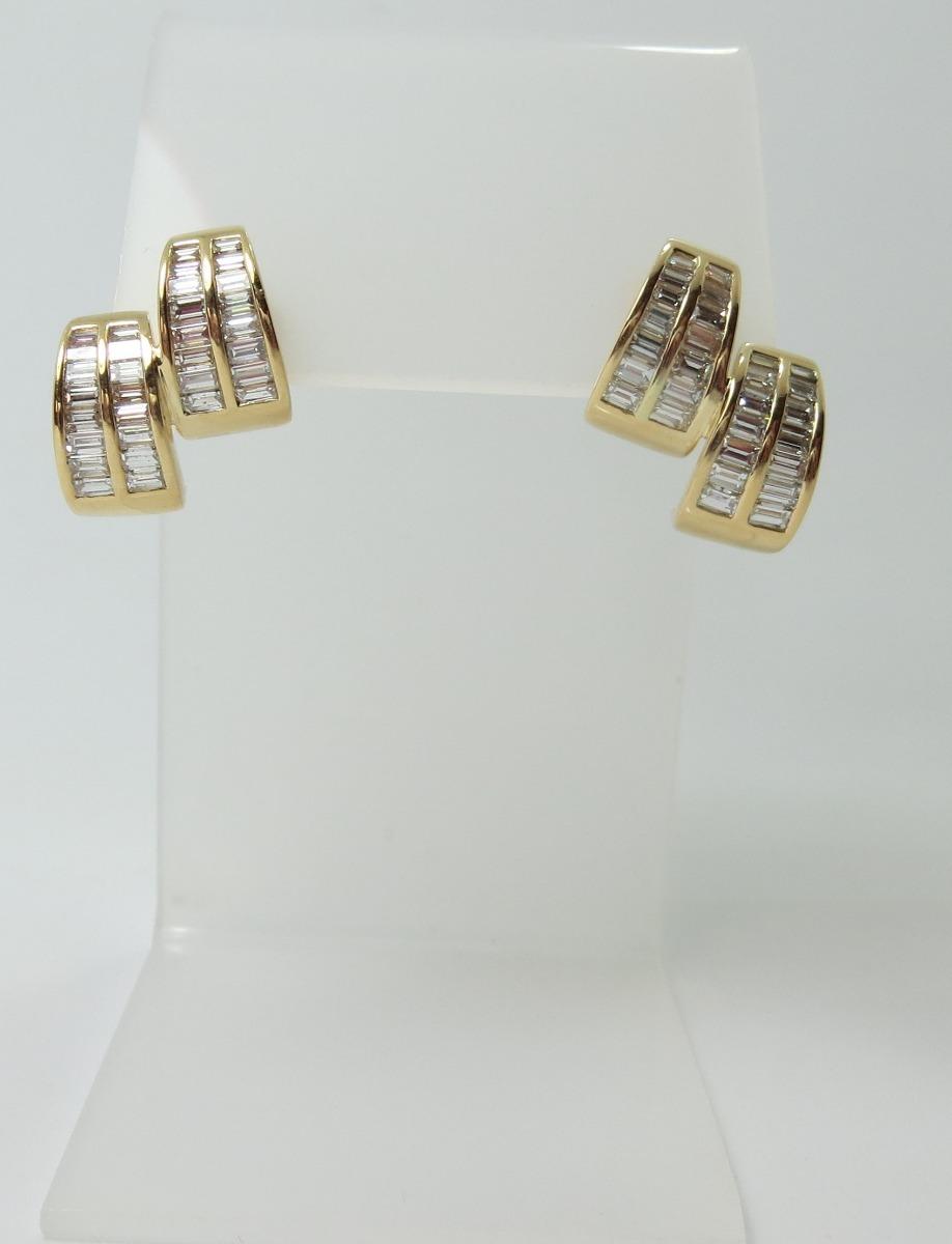 a29a1b2f8ee44 brinco argolas ouro 18k e 1.40 quilates diamantes baguetes . Carregando  zoom.