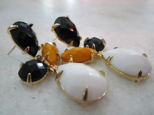 brinco banhado a ouro com pedras em 3 cores