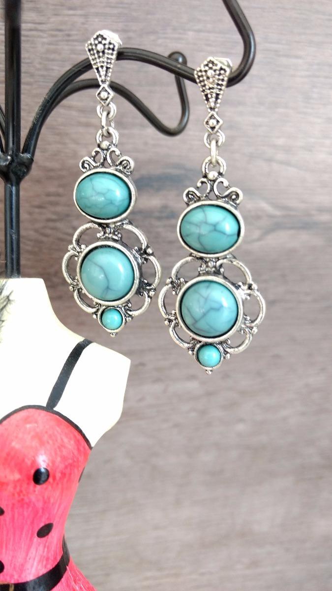 brinco boho azul turquesa acessório bijuteria feminino. Carregando zoom. edcf718c6e6