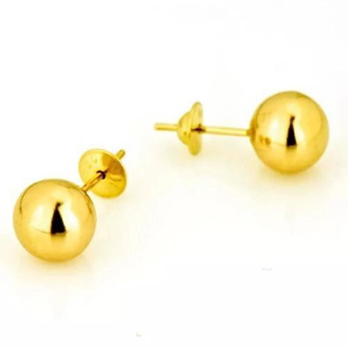 brinco bola / bolinha 6mm em ouro 18k 750 com garantia