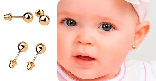 brinco bolinha 3mm infantil segundo furo ouro 18k caixinha