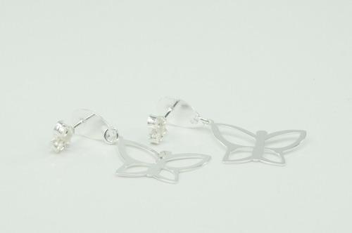 brinco borboleta pendurado (bri01060) prata 925 corte laser