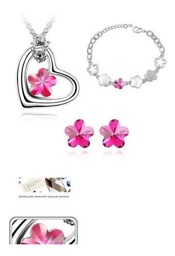brinco, colar e pulseira com cristal  importado coração