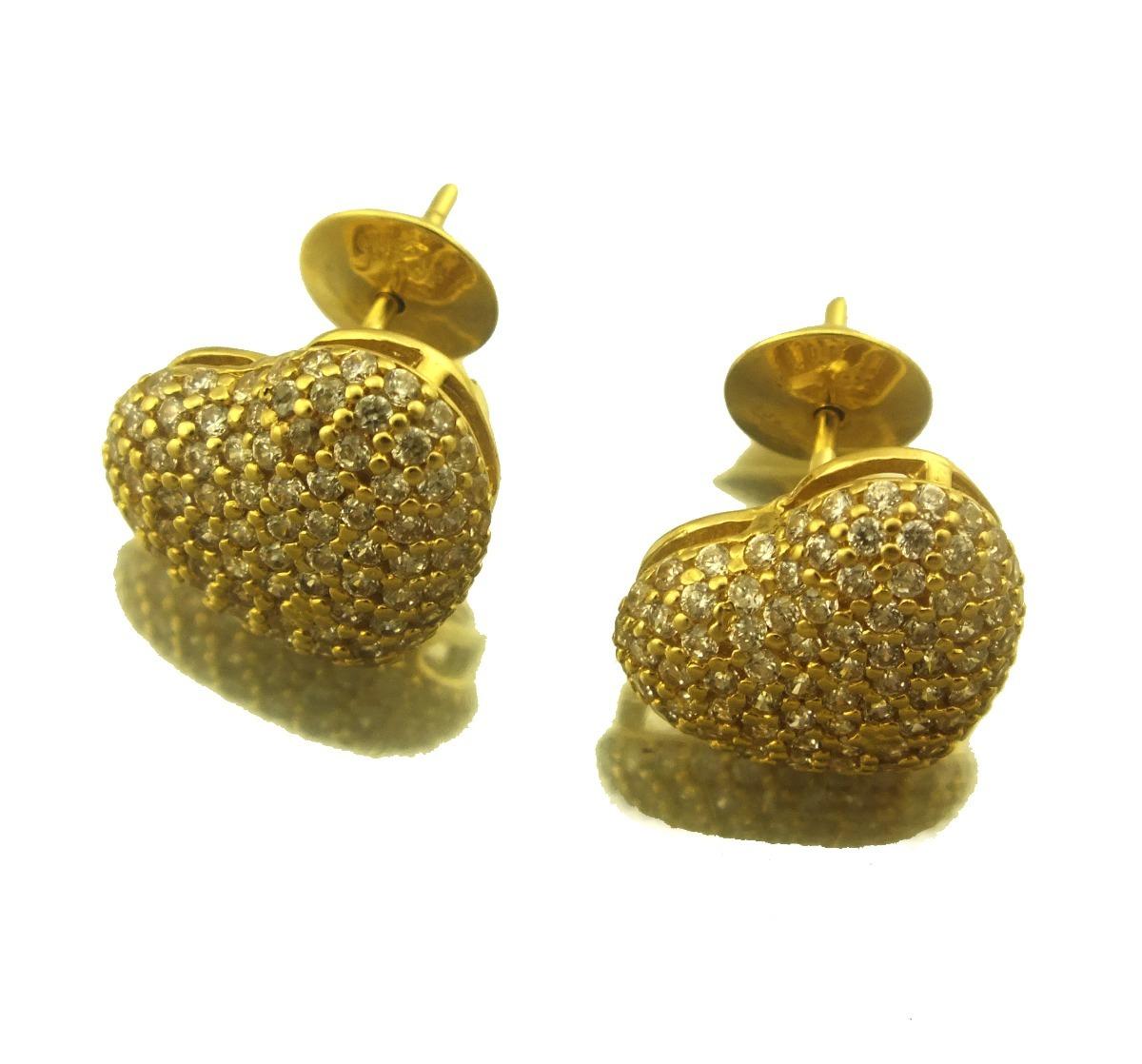 59c5bd9403c Brinco Coração Com Pedras Cravadas Em Ouro 18k J20683 - R  1.499