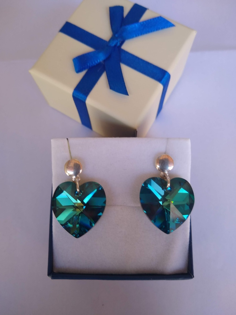 1164fa51a59f Brinco Coração Cristal Swarovski Bermuda Blue Prata 925