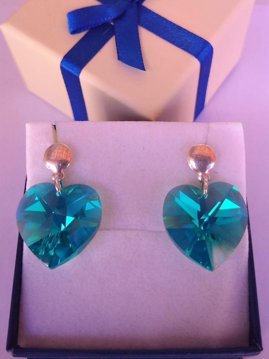 c577a9dbf0d1 Brinco Coração Cristal Swarovski Blue Zircon Ab Prata 925
