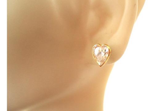 brinco coração pedra zircônia branca brilhante joia ouro 18k