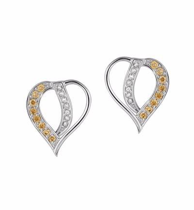 brinco coração vazado c/ diamante branco e dourado em ob 18k