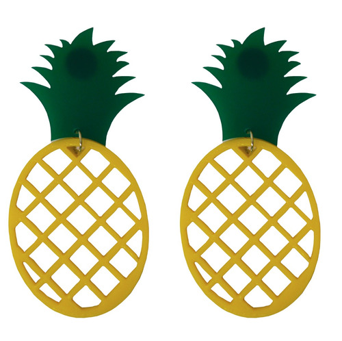 brinco de acrílico abacaxi amarelo retro pop beijo feminino