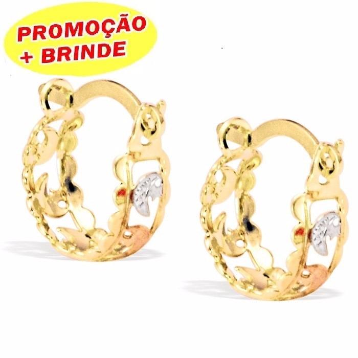 4bf0921fbc8ee Brinco De Argola Redonda Infantil Banhado A Ouro 18k Garanti - R  9,99 em  Mercado Livre