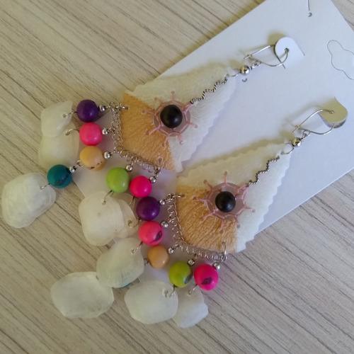 brinco de escama de peixe com açaí colorido ref: 7976