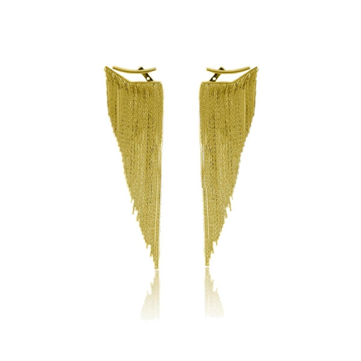 2a7bad8cf6b2a Brinco De Franja Degrade Ear Jacket Folheado A Ouro 18k - R  56,60 em  Mercado Livre