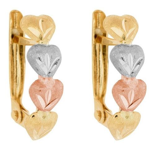brinco de ouro 18k feminino corações tricolor - envio rápido