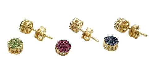 brinco de ouro 18k pavê de rubis ou safiras ou esmeraldas