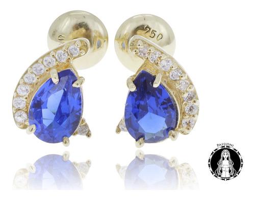 brinco de ouro 18k zirconia azul feminino c/ nf e garantia