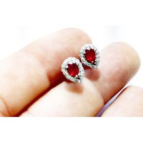 Brinco De Ouro 18kl & Rubi Com Diamantes