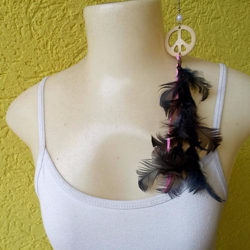 brinco de penas pretas ref: 4507 - bijuterias artesanais