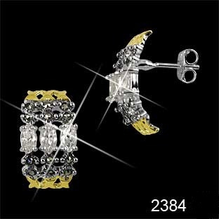 brinco de prata 0,925 com marcassitas, zirconias e detalhes